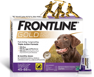 A box for Frontline Gold for dogs
