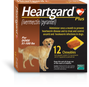 A box of Heartgard chewables for dogs