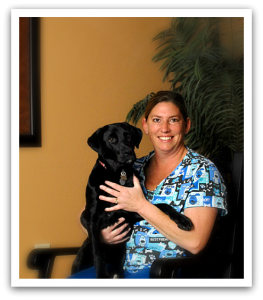 Team member Trish with her pet dog